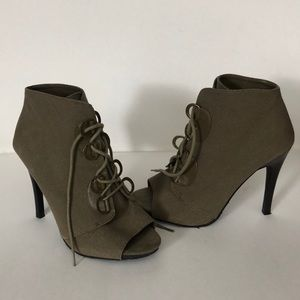 Elle Shoes - ELLE Canvas Heeled Peep Toe Booties Ankle Boots